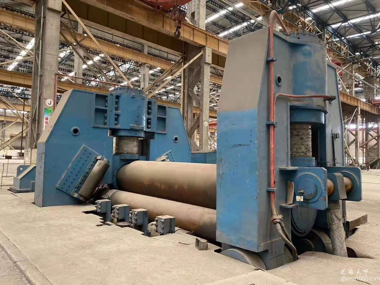 二手湖北鄂重W11S-140/200×4500水平下调式三辊卷板机